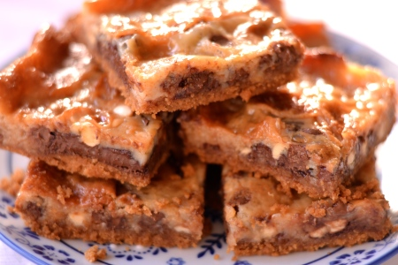 Nutella Magic Bars - A biscuit base topped with Nutella and chocolate morsels, encased in a gooey caramel, these Nutella Magic Bars are sublime! | thehecticcook.com