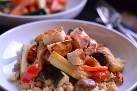Roasted Vegetable Couscous with Halloumi - This gorgeously light, yet filling dish is the perfect addition to your vegetarian recipe repertoire. | thehecticcook.com