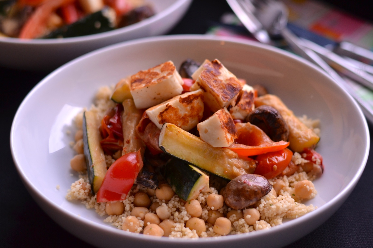 Roasted Vegetable Couscous with Halloumi